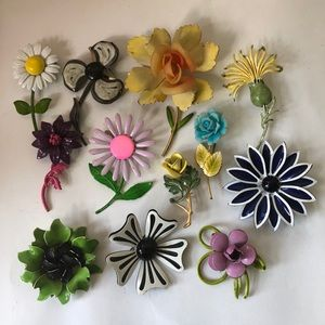 Enamel flower pin bundle vintage